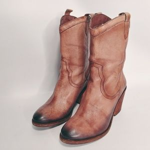 Sam Edelman 8M Ankle Boots Leather Cowboy Nile